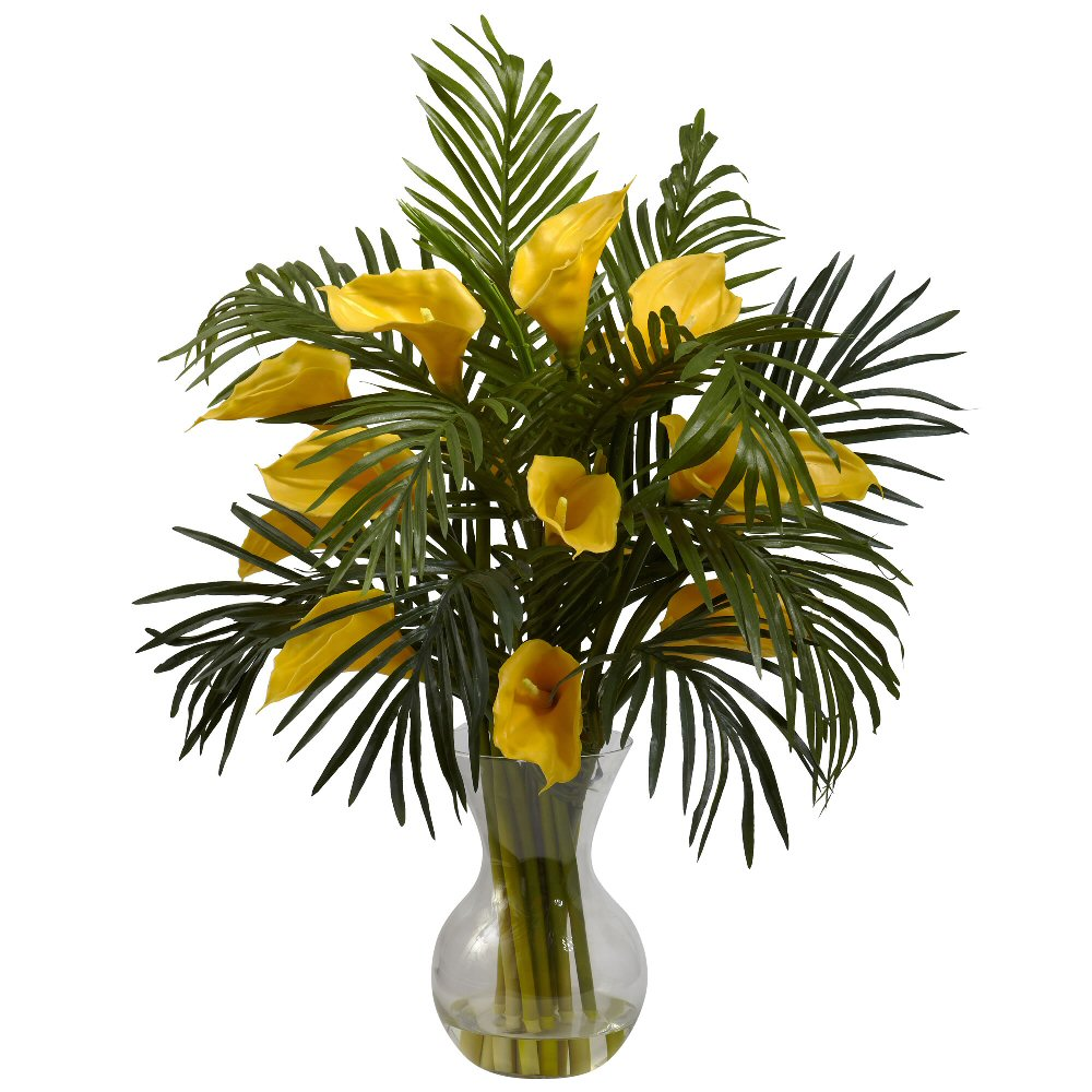 Yellow Calla Lily Palm Silk Flower Arrangement Combo Artificial