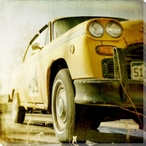 Yellow Ride Cab Wrapped Canvas Giclee Print Wall Art