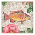 Yellow Snapper Fish Vintage Style Wooden Sign