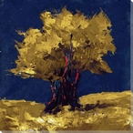 Yellow Tree on Blue Wrapped Canvas Giclee Print Wall Art
