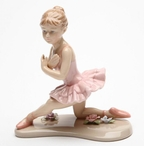 Young Ballerina in Pink with Knee Down Porcelain Sculpture