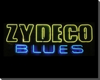 Zydeco Blues Neon Sign Wrapped Canvas Giclee Print Wall Art