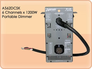 AS62DCSK 6 Channel x 1200W Portable Dimmer