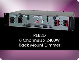 RE82D 8 Channel x 2400W Rack Mount Dimmer