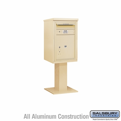 Salsbury 3407S-1PSAN 1 Parcel 4C Pedestal Mailbox with Outgoing Mail Slot - Sandstone