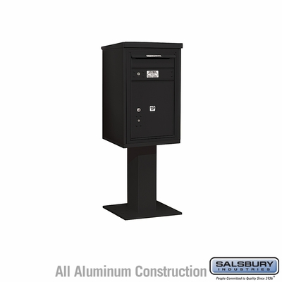 Salsbury 3407S-1PBLK 1 Parcel 4C Pedestal Mailbox with Outgoing Mail Slot - Black