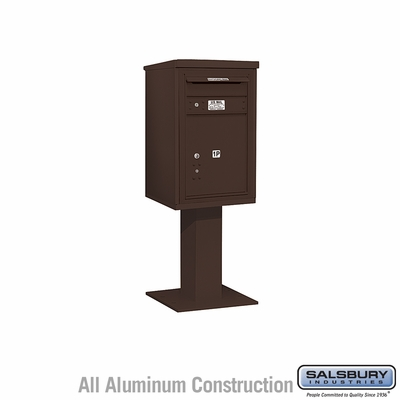 Salsbury 3407S-1PBRZ 1 Parcel 4C Pedestal Mailbox with Outgoing Mail Slot - Bronze