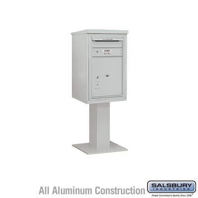 Salsbury 3407S-1PGRY 1 Parcel 4C Pedestal Mailbox with Outgoing Mail Slot - Gray