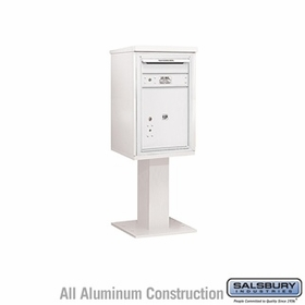 Salsbury 3407S-1PWHT 1 Parcel 4C Pedestal Mailbox with Outgoing Mail Slot - White