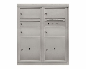 1 Single & 4 Doublewide Tenant Doors - Front Loading 4C Mailbox with 2 Parcel Lockers - USPS Approved
