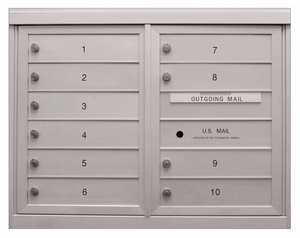10 Single Height Tenant Doors Front Loading ADA54-D10 USPS Approved 4C Horizontal Mailboxes
