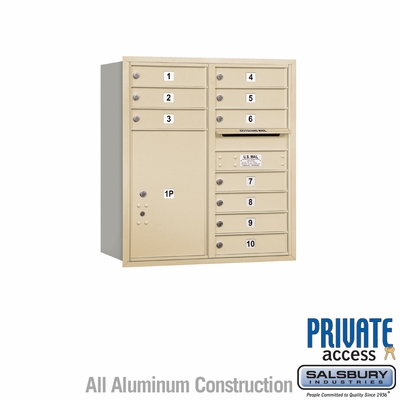 Salsbury 3709D-10SRP 4C Mailboxes 10 Tenant Doors Rear Loading