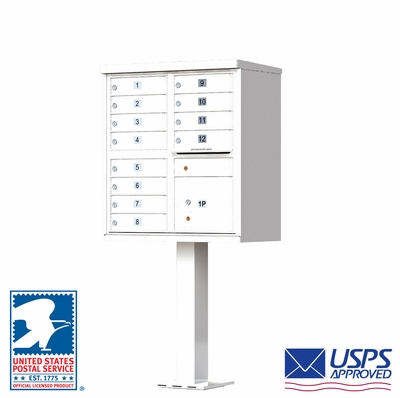 CBU - 12 Tenant Boxes Cluster Mailbox In White