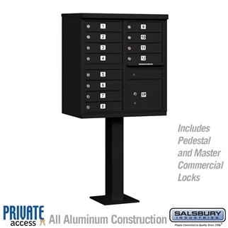 Salsbury 3312BLK-P 12 Door Cluster Mailbox Black - Private Access