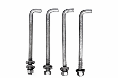 12 inch J-Bolts for SMB1 Surface Mount Poles (SET OF 3 with NUTS & BOLTS)