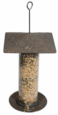 "Whitehall 12"" Oakleaf Tube Feeder - Oil Rub Bronze"