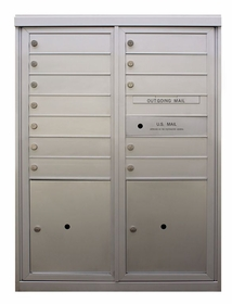 12 Tenant Doors - Front Loading 4C Horizontal Mailbox with 2 Parcel Lockers - USPS Approved