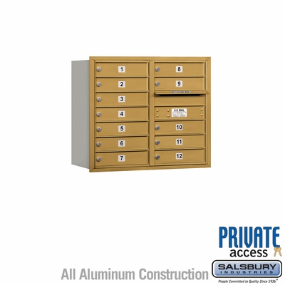 Salsbury 3707D-12GRP 4C Mailboxes 12 Tenant Doors Rear Loading