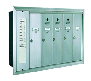 1255 Series Vertical Mailbox 5 Tenants 1 Integral Directory