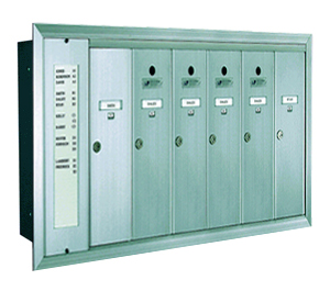 1255 Series Vertical Mailbox 6 Tenants 1 Integral Directory
