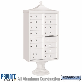 Salsbury 3313R-WHT-P 13 Door Regency Decorative Cluster Mailbox White - Private Access