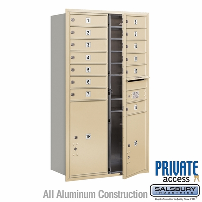 Salsbury 3713D-13SFP 4C Mailboxes 13 Tenant Doors Front Loading