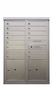 14 Tenant Doors - Front Loading 4C Horizontal Mailbox with 2 Parcel Lockers - USPS Approved