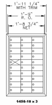 1450 Series Front-Load Private Distribution Mailbox - 10 x 4 Doors