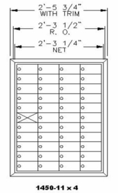 1450 Series Front-Loading Private Delivery Mailbox - 11 x 4 Doors