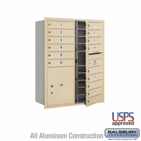 Salsbury 3711D-15SFU 4C Mailboxes 15 Tenant Doors Front Loading