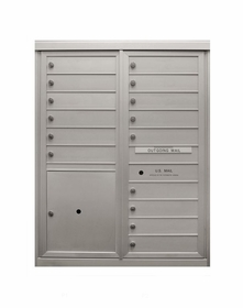 15 Tenant Doors - Front Loading 4C Horizontal Mailbox with 1 Parcel Locker - USPS Approved