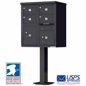 4 Door CBU Mailboxes with Extra Large Tenant Doors Black