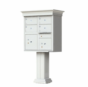 Decorative Crown Cap 4 Door CBU Mailboxes with Extra Large Tenant Doors Gray