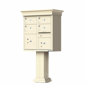 Decorative Crown Cap 4 Door CBU Mailboxes with Extra Large Tenant Doors Sandstone