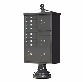 Decorative Traditional CBU Commercial Mailboxes - 8 Door with 4 Parcel Lockers - Bronze