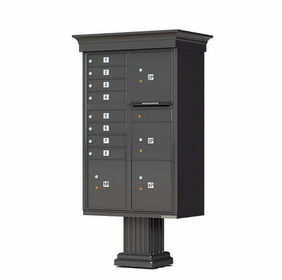 Decorative Crown Cap CBU Commercial Mailboxes - 8 Door with 4 Parcel Lockers - Bronze