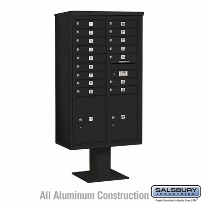 Salsbury 3415D-16BLK 16 Door 4C Pedestal Mailbox with Parcel Locker - Black