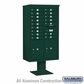 Salsbury 3415D-16GRN 16 Door 4C Pedestal Mailbox with Parcel Locker - Green