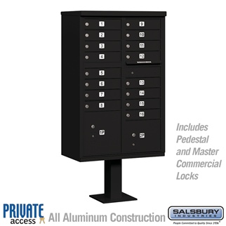 Salsbury 3316BLK-P 16 Door Cluster Mailbox Black - Private Access