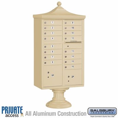 Salsbury 3316R-SAN-P 16 Door Regency Decorative Cluster Mailbox Sandstone - Private Access
