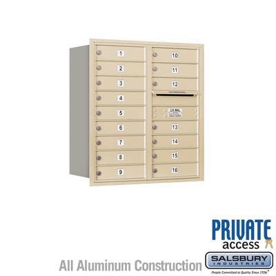 Salsbury 3709D-16SRP 4C Mailboxes 16 Tenant Doors Rear Loading