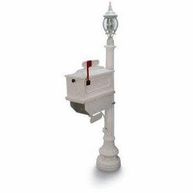 1812 Beaumont Mailbox with Lantern - White