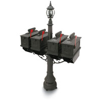 1812 Black Port Hill Plastic Mailboxes with Lantern Post