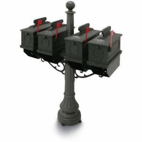 1812 Black Port Hill Plastic Mailboxes with Post