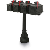 1812 Black Sutherland Plastic Mailboxes with Post