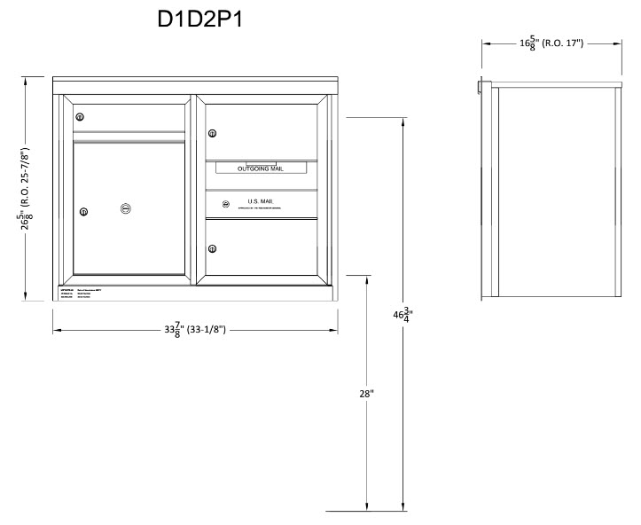 mailbox dimensions. 2 Double And 1 Single Height Tenant Doors Parcel Locker Front Loading ADA48-D1D2P1 USPS Approved 4C Horizontal Mailboxes Mailbox Dimensions