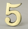 2 Inch Brass Number Five with Self Adhesive Back