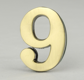 2 Inch Brass Number Nine with Self Adhesive Back