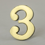 2 Inch Brass Number Three with Self Adhesive Back