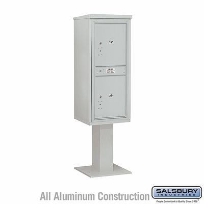 Salsbury 3411S-2PGRY 2 Parcel 4C Pedestal Mailbox - Gray